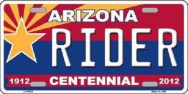 Arizona Centennial Rider Novelty Metal License Plate