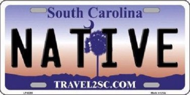 Native South Carolina Novelty Metal License Plate