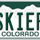Skier Springs Colorado Background Novelty Metal License Plate