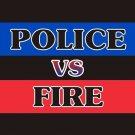 Police VS. Fire Vanity Metal Novelty License Plate