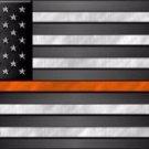 American Flag Thin Orange Line Novelty Metal License Plate
