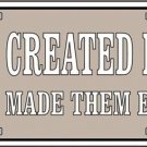 God Created Man Guns Made Them Equal Vanity Metal Novelty License Plate