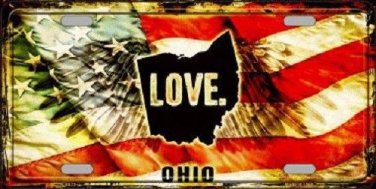 Ohio Love Novelty Metal License Plate