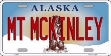 Mt McKinley Alaska State Background Novelty Metal License Plate