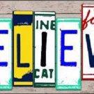 Believe License Plate Art Wood Pattern Metal Novelty License Plate