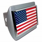 American Flag ALL METAL Brushed Hitch Cover