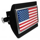 USA Flag Emblem on Black Plastic Hitch Cover