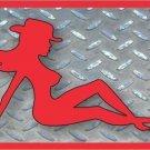 Red Mudflap Cowgirl Novelty Vanity Metal License Plate