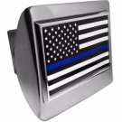 Police USA Flag ALL METAL Shiny Chrome Hitch Cover