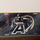 """West Point Black Knight """"A"""" in Gold On Black Embossed License Plate"""