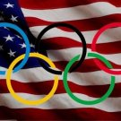 Olympic Rings On U.S. Flag Photo License Plate