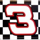 Dale Earnhardt NASCAR #3 Checkered Racing Flag Metal License Plate