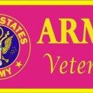 United States Army Veteran (Pink) Novelty Vanity Metal License Plate