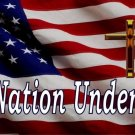 U.S. Flag One Nation Under God Small Cross Photo License Plate