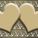 Gold White Anchor Hearts Print Oil Rubbed Metal Novelty License Plate