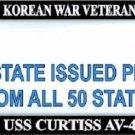 USS Curtiss AV-4 Korean War Veteran Every State Metal License Plate Frame