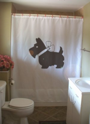 Bath Shower Curtain scottie dog bow Scottish terrier breed