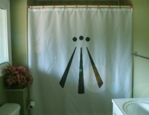 Bath Shower Curtain Awen symbol triple goddess pagan Wicca