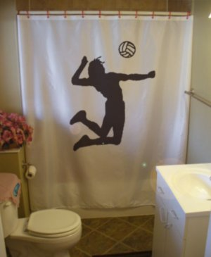 Bath Shower Curtain volleyball spike ball player jump sport