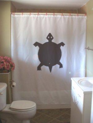 Bath Shower Curtain turtle native rock art shell reptile pet