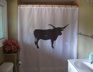 Bath Shower Curtain texas longhorn bull cattle breed horn