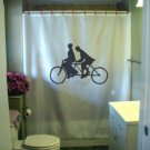 Bath Shower Curtain tandem bicycle bike vintage two rider