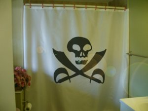 Bath Shower Curtain skull and crossed swords sabres pirate