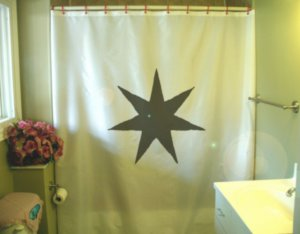 Bath Shower Curtain seven point star symbol design shape