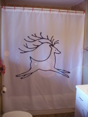 Bath Shower Curtain reindeer antlers Christmas holiday Santa