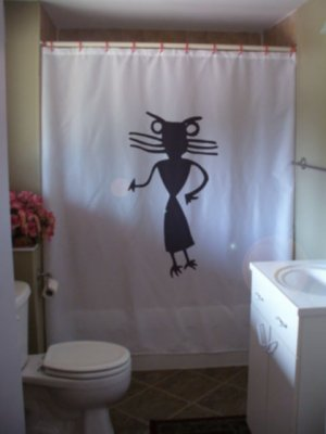 Bath Shower Curtain prehistoric hour glass figure art cave