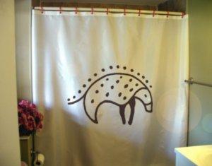 Bath Shower Curtain prehistoric hedgehog cave painting wall