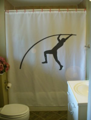 Bath Shower Curtain pole vault sport track field guy vaulter
