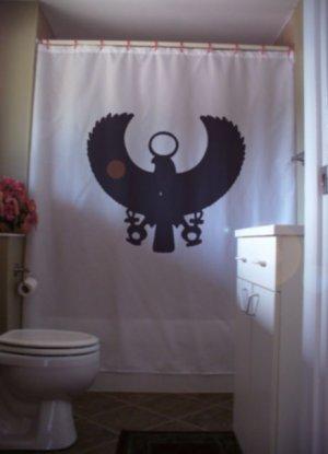 Bath Shower Curtain osiris ankh disc ancient Egypt Egyptian
