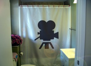 Bath Shower Curtain movie camera vintage Hollywood classic