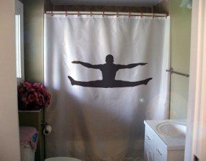Bath Shower Curtain male gymnast jump gymnastics reach toe