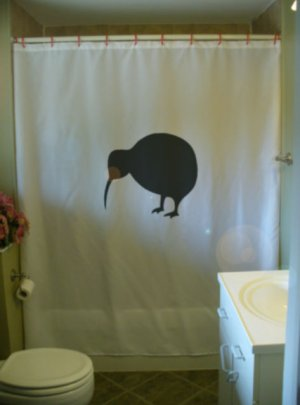 Bath Shower Curtain kiwi bird New Zealand flightless emblem