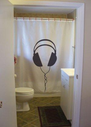 Bath Shower Curtain headphones wire lost in music escape