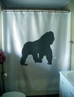 Bath Shower Curtain gorilla in the mist primate ape nature