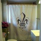 Bath Shower Curtain fleur de lis lily France Quebec French