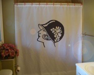 Bath Shower Curtain flapper modern woman cloche bell hat bob