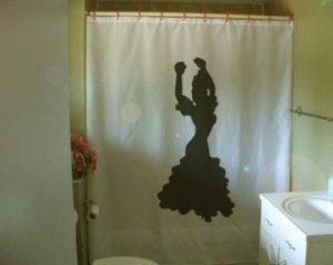 Bath Shower Curtain Flamenco dancer Spanish dance silhouette