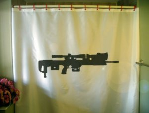 Bath Shower Curtain DSR-1 compact rifle German sniper bolt