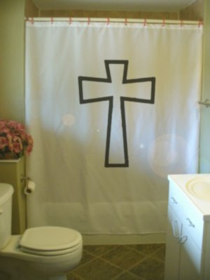 Bath Shower Curtain christian cross outline jesus christ god
