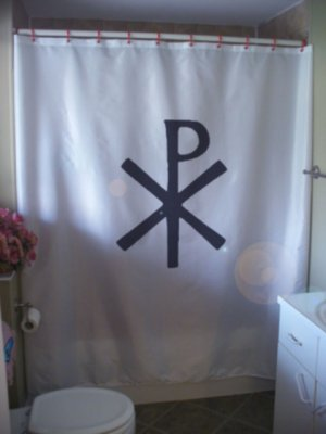 Bath Shower Curtain chi rho labarum Jesus Christ Christian