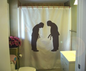 bath shower curtain bowing boys martial respect bow boy dojo
