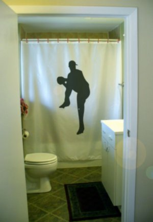 Bath Shower Curtain baseball pitcher pitch throw ball cap