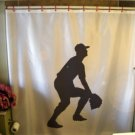 Bath Shower Curtain baseball catch glove incoming field cap