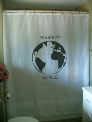 Bath Shower Curtain Atlantic Earth globe you are my world