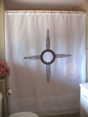Bath Shower Curtain america sun symbol petroglyph rock carve