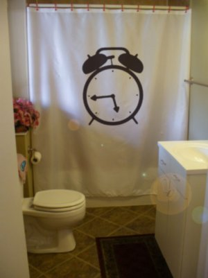 Bath Shower Curtain alarm clock ring bell time early morning